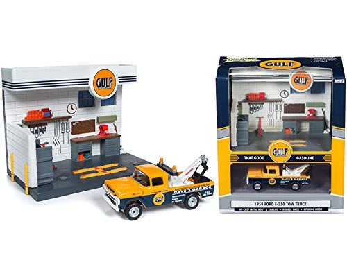 1959 Ford F-250 Tow Truck and Gulf Service Station Diorama Set 1/64 Diecast Model by Johnny Lightning JLSD002 ()