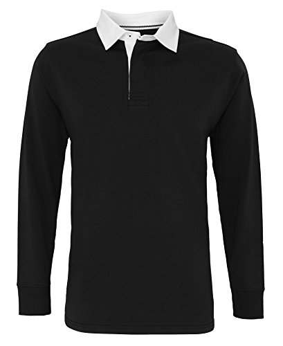 ng sleeve vintage rugby shirt(Black, 2XL) (Long Sleeve Two Button Rugby)