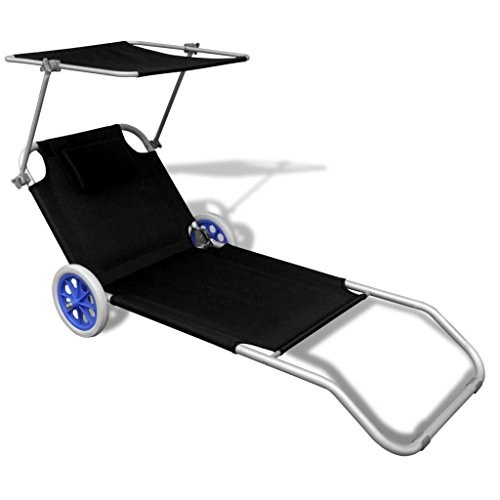 Daonanba Foldable Sunbed Sun Lounger with Canopy and Wheels Outdoor Chaise Lounge Chair Grden Funiture Aluminum Black by Daonanba