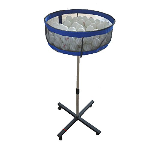 Lesmin Professional Movable Multi-ball Storage Stand with Mesh Case, Height Adjustable Pingpong Ball Collector Equipment for Training,Stable Carry Mesh Basin for Golf ball,Tennis ball,Badminton etc by Lesmin
