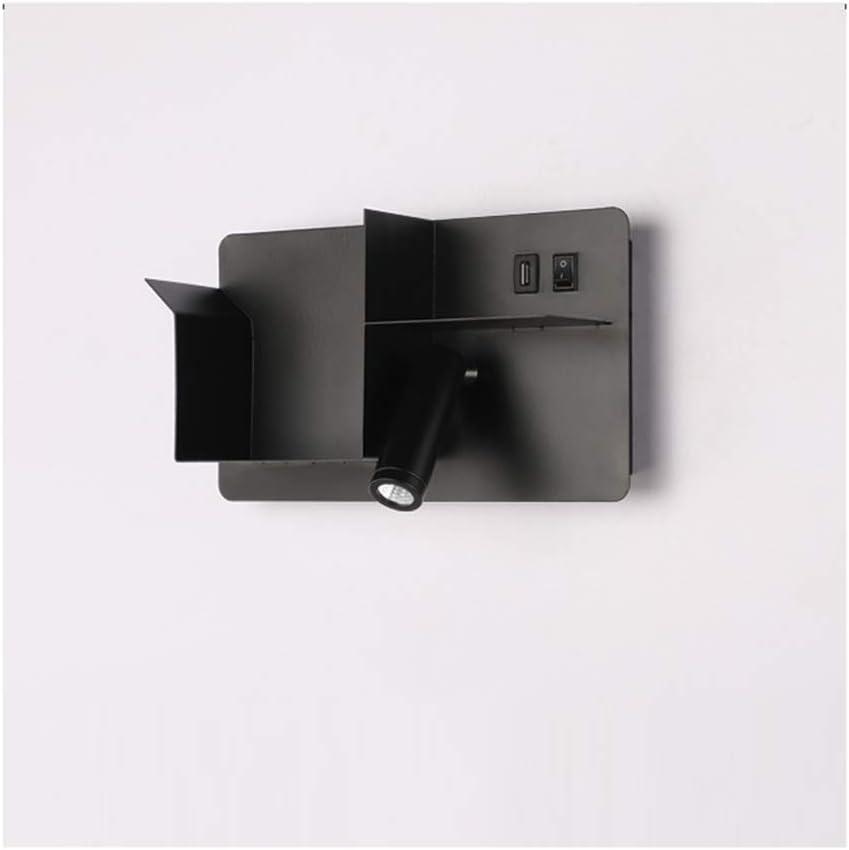 XUMI Lámpara De Pared Moderna 3W para Dormitorio, Aplique con Interruptor Y Puerto De Carga USB Iluminación para Gabinete De Baño, Barra, Aplique De Pared,Negro,6000k