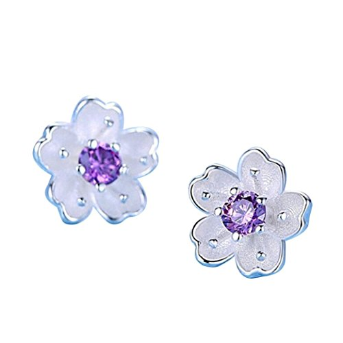 Women Sterling Silver Hawaiian Plumeria Flower Cubic Zirconia Stud Earrings (Purple)