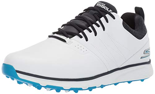 Skechers Men's Mojo Waterproof Golf Shoe, White/Blue, 8 M -