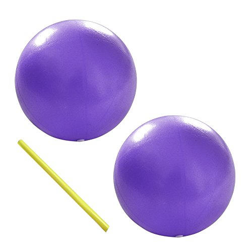 Exercise Ball - Stability Ball for Pilates, Yoga, Barre, Training and Physical Therapy- Improves Balance, Core Strength, Back Pain & Posture- Comes with Straw(2 Pcs) (purple)