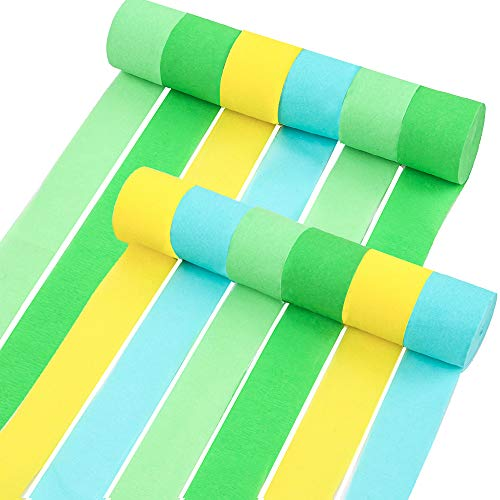 RUBFAC 12 Rolls Green and Yellow Crepe Paper Streamers Dinosaur Jungle Party Supplies Decorations, Used with Dinosuar Banner for Kids Birthday Party Baby Shower Bridal Shower ()