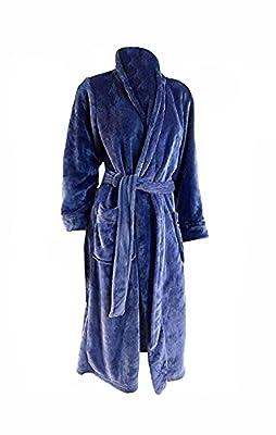 Carole Hochman Womens Plush Soft Polyester Fleece Wrap Robe, Navy, X-Large