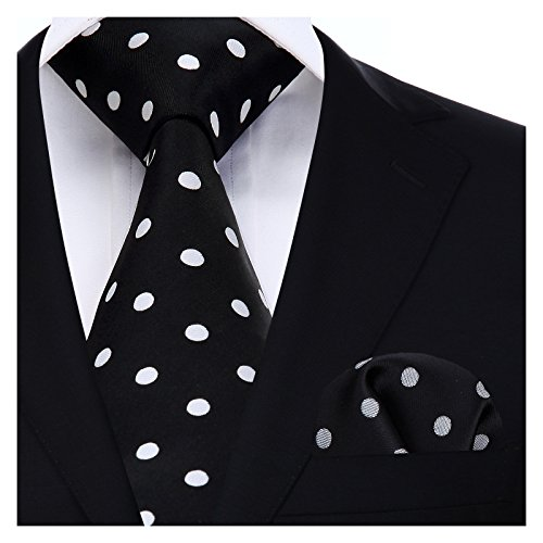 BIYINI Mens Tie Polka Dot Necktie and Pocket Square Set for Wedding Party]()