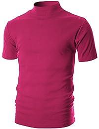 Mens Slim Fit Soft Cotton Short Sleeve Pullover Lightweight Turtleneck with Warm Inside
