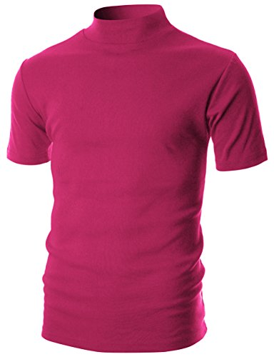 Ohoo Mens Slim Fit Flice Short Sleeve Pullover Lightweight Mockneck/DCT105-PINK Yarrow-S (Silk Blend Mock Neck)