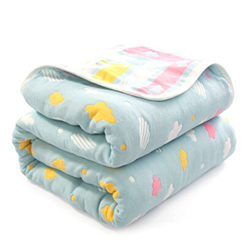 (Summer Cotton Blanket Cover, Double Bed Size 150 x 200cm Sofa Throw Blanket, Stylish Modern Grid Air Conditioning Quilt Blanket, Lightweight Skin-friendly Blanket for Baby, Kids, Single Beds,)