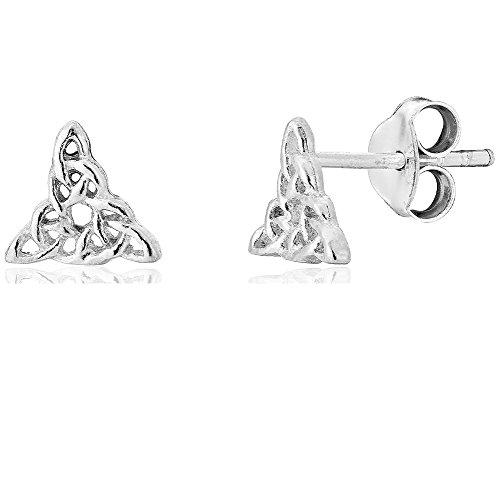 DTPsilver - Boucles d'oreilles Femme en Argent Fin 925 en Forme de Noeud Celtique Triangle - Fermoir clou