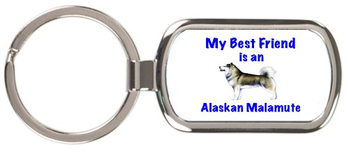 My Best Friend is Alaskan Malamute Rectangular Keychain ()