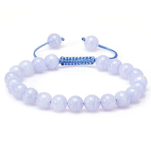 8mm Birthstone Natural Bead Beaded Bracelet Precious Gemstones Handmade Adjustable Size (Blue Lace Agate)