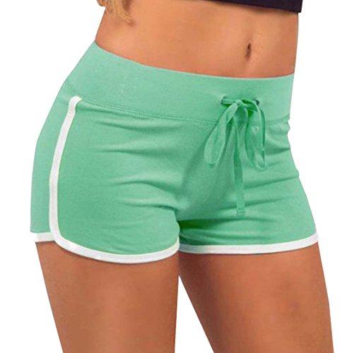 del Shorts Coulisse Traspirante Verde Chiaro Assorbimento Pantaloni Pantaloncini Hot Monika Fitness Moda Yoga Jogging da Donna Corto Casual Estivo con Patchwork Sudore Pants XwnA40f