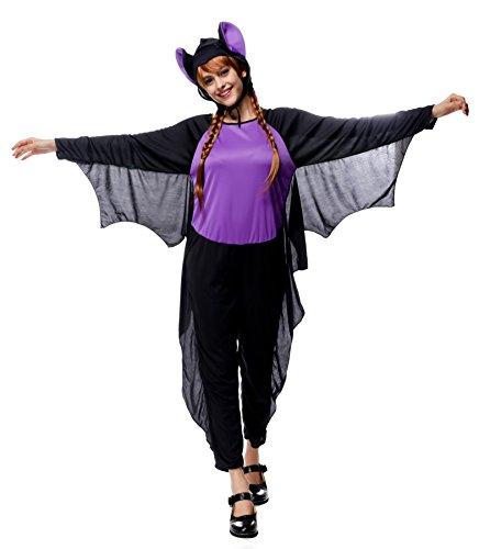 Joygown Women's Bat Jumpsuit Hooded One Piece Halloween Party Costume -