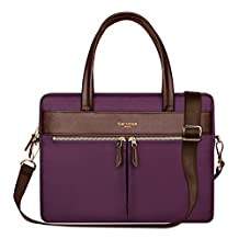 YiYiNoe Professional Macboook Handbag Shoulder Bag for Pro 15 Laptop Business Briefcase Messenger Bag for Women Purple