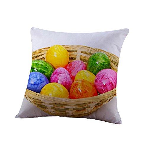 (HYIRI Big Easter Cotton Pillowcase Sofa Waist Letter Pattern Throwing pad Set Home Decoration)