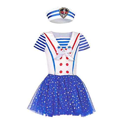 BooW Child Sailor Girl Fancy Dress Cutie Captain Navy Sailor Costume Nautical Outfit (Sailor Hat+Dress, M)]()