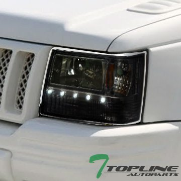 Topline Autopart Smoke Housing Drl Led Head Headlights Signal Bumper Corner Parking Blinkers Lights Lamps Amber Aw 1 Piece Style 93-98 Jeep Grand Cherokee 95 96 97 98 Jeep