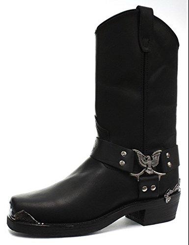 Boots Emblem Eagle Biker Styllish Black Mid Grinders Calf H0fwUfT