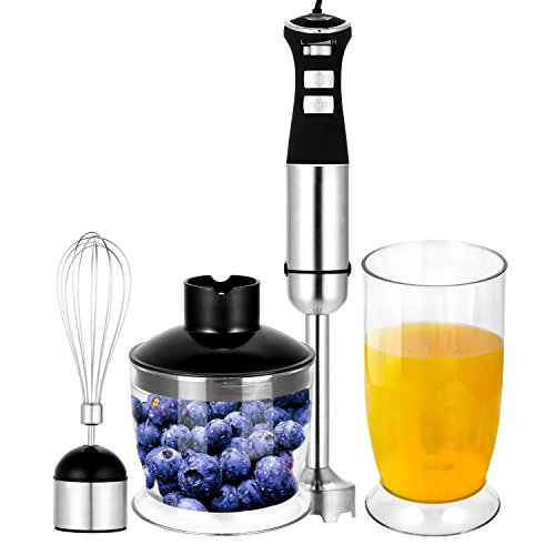 800W 4-in-1 5 Speed Smoothie Maker with Whisk Attachment Stainless Steel Electric Hand Blender Set Black