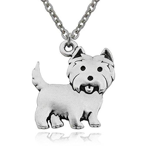 FTA Dog Pendant Necklace- Silver Pendant Charm West Highland Terrier Gifts (West Highland Terrier New)