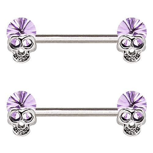 (Pair of 14G Lavender Skull Nipple Piercing Rings Steel Barbells)