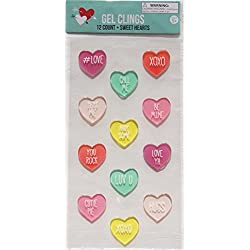 Holiday Valentine's Day Talking Hearts Gel Window Clings - 12 Piece