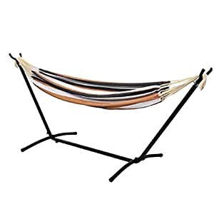 Double Hammock With Steel Stand Portable Carrying Case Hardware Powder Coated Finish Brightly Striped Colorfast-MegaTrade Prime