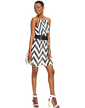 Guess Chevron-print Belted Halter Dress White 2