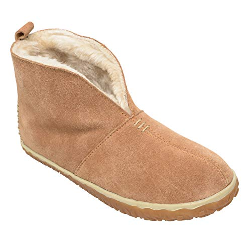 Minnetonka Women's Tucson Suede Pile-Lined Indoor and Outdoor Bootie Slippers 9 M Cinnamon