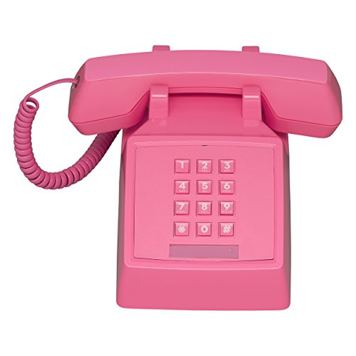Wild Wood 2500 Classic Retro 1980s Style Corded Landline Phone with Push Buttons, Flamingo Pink ()