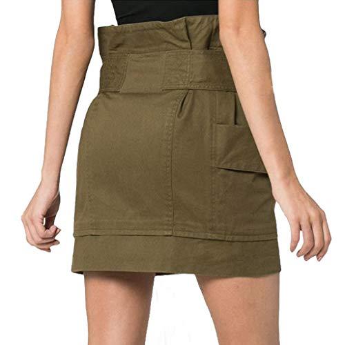 Courtes Mini Neeky Armée Solide Casual Poche Jupes Femmes Personnalité Vintage Taille De Hanche Haute Plissé Verte qpUVSzLMG