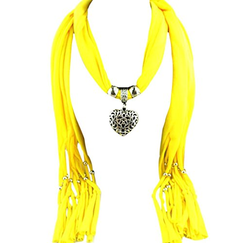 Clearance,Yang-Yi Women Scarf Automn Winter Heart Gemstone Necklace Scarf Lady Tassel Warm Scarves (Yellow, one - Yang Gemstone