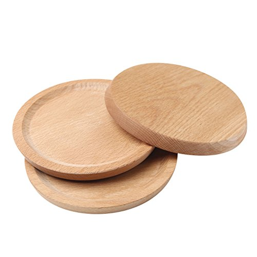 Household Natural Wooden Plate Innovative Beech Coaster Serving Platter Tray Small Plate Wood Baking Tools for Kitchen Dining Room Living Room Cafe Shop Round by jannyshop (Image #1)