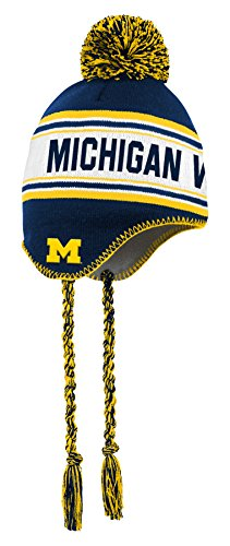 NCAA by Outerstuff NCAA Michigan Wolverines Toddler Jacquard Tassel Knit Hat w/ Pom, Dark Navy, Toddler One Size