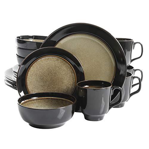 Gibson Elite Bella Galleria Round Reactive Glaze Stoneware Dinnerware Set, Service for 4 (16pcs), Taupe/Black