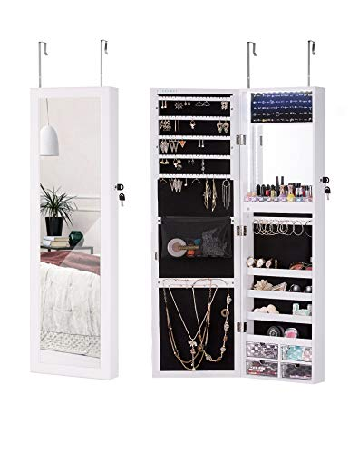 (LUXFURNI LED Light Jewelry Cabinet Wall-Mount/Door-Hanging Mirror Makeup Lockable Armoire, Large Storage Organizer w/Drawers)