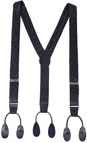 Marino Men's Y-Back Adjustable, Button Leather End, Silk-like Dress Suspender