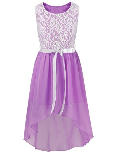 (FEESHOW Kids Big Girls Lace Flower High Low Chiffon Bridesmaid Dress Dance Party Purple 10)