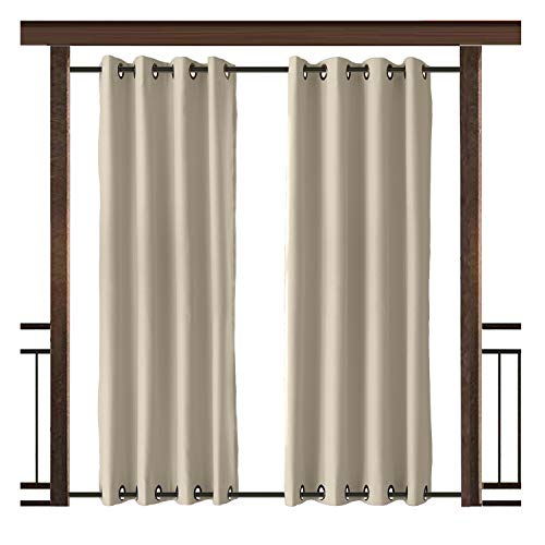 TWOPAGES Outdoor Curtain Antique Bronze Grommet Waterproof Drape(Both Top and Bottom) Beige 100