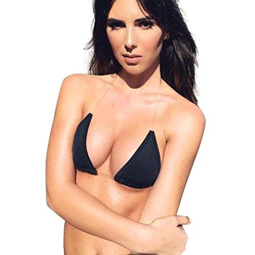 OverDose transparente correas bikini conjunto de trajes de baño de playa acolchada Tankini Negro