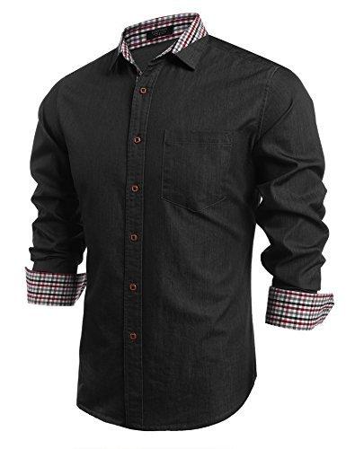 COOFANDY Men's Casual Dress Shirt Button Down Shirts Long-Sleeve Denim Work Shirt (XX-Large, Type 02 - Black) Button Cuff Denim Work Shirt