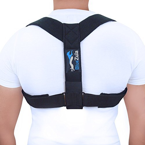 BlueZula Adjustable Back, Shoulder and Clavicle Brace Posture 2 Corrector for Men & Women | Comfortable Padded Design | Spinal Rehabilitation - Lightweight and Invisible Under Clothes by BlueZula