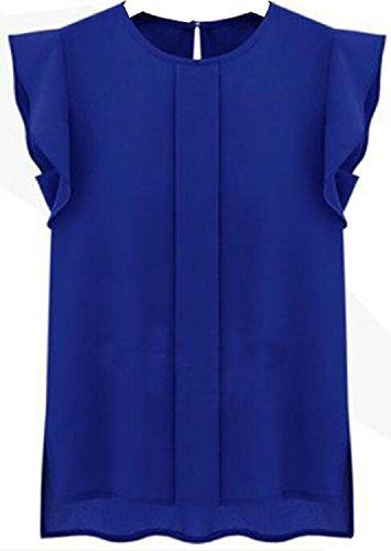 Zawapemia Women's Cap Sleeve Ruffle Shoulder Chiffon Tops Casual Shirt Sapphire Blue X-Large (Ruffle Cap)