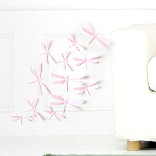 Dingji 12pcs 3D DIY Decor Dragonfly Home Party Wall Stickers PVC Flower Art Decal (Pink) - Pink Wall Cushion