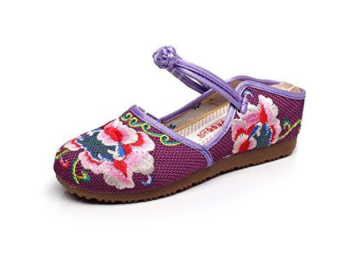Bordado Femeninas Paño Zapatillas Nacional Zapato Viento Verano Lino Violet Primavera y z1Hq4Pgg