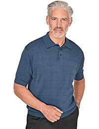 Men's Silk Grid Polo Collar Sweater