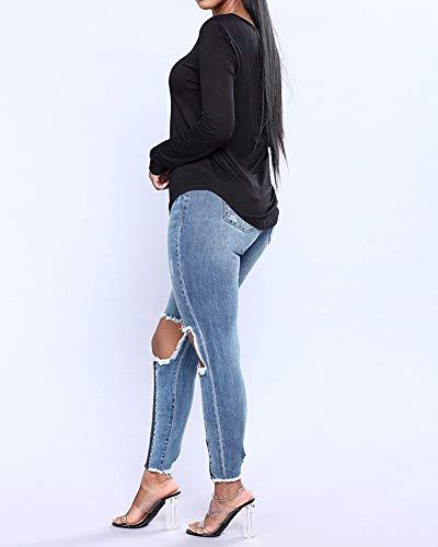 clair Haute Bleu Fermeture Jeans Denim Mince Taille ZhuiKunA Femme Pantalon FBwq44U