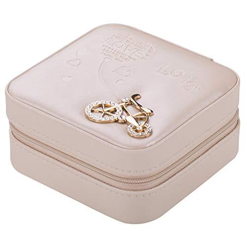 (Mini Square Faux Leather Earrings Ring Necklace Jewelry Organizer Storage Box - Yellow WYKsoku)